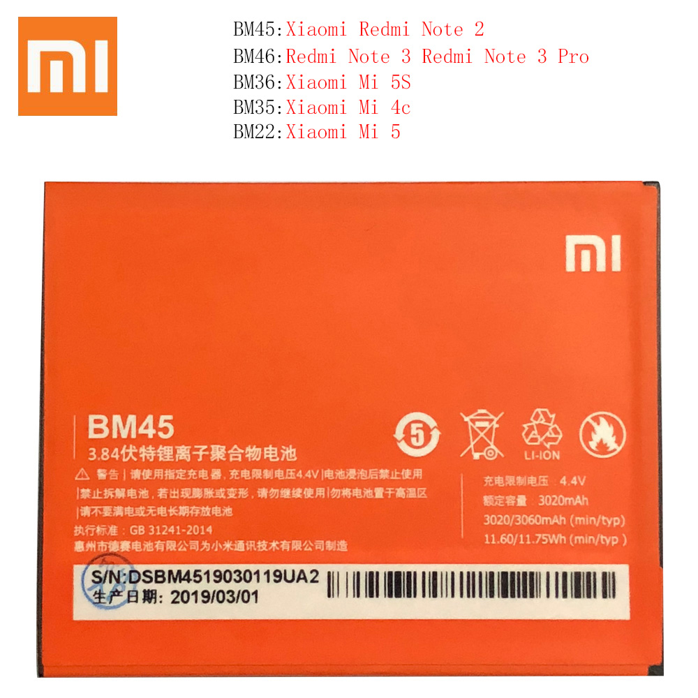BM22 <font><b>BM35</b></font> BM36 BM45 BM46 Battery For <font><b>Xiaomi</b></font> <font><b>Mi4C</b></font> Mi5S Mi 5 4C 5S Mi5 Redmi Note 2 3 Pro Replacement Battery Batterie Free Tools image