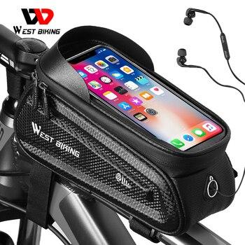 WEST BIKING Bicycle Bag 6.0-7.2 Inch Phone Bag Waterproof Front Frame Bag Sensitive Touch Screen MTB Road Bike Accessories
