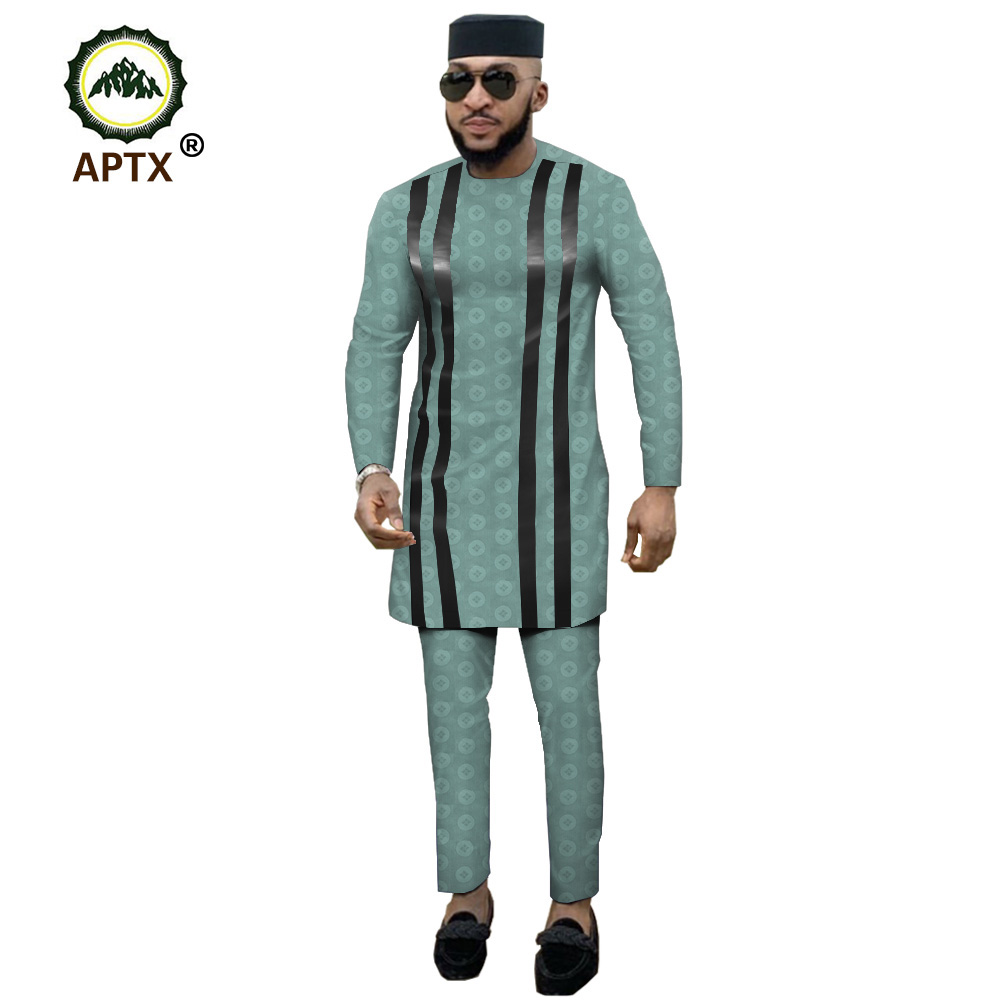 APTX Jacquard Fabric Cotton Muslim Suit For Men Tailor Made Full Sleeves Top+ Slim Pants Men's Casual Suit T1916021