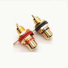2 unids/lote Lotus hembra Base AV enchufe RCA Lotus hembra amplificador de Audio chapado en oro rojo/negro