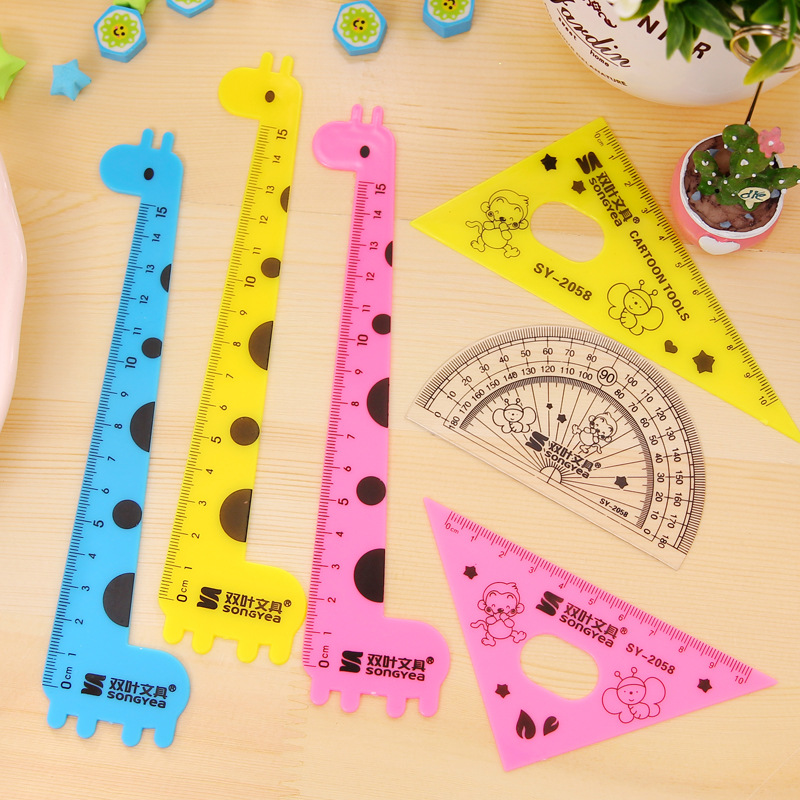80pcs Cute Giraffe Set Of Drafting Rules Straight 6
