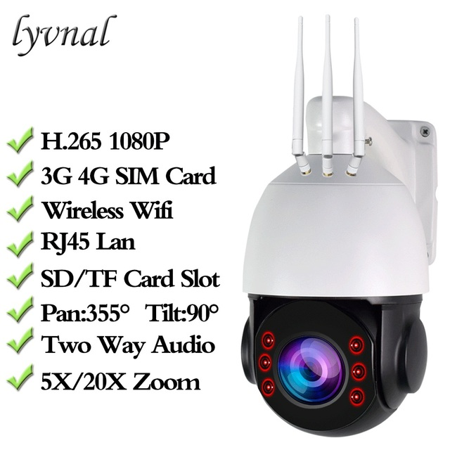 HD 1080P 3G 4G WIFI CCTV Camera Sim kaart Draadloze PTZ IP Camera Wifi Speed Dome Outdoor 5X 20X Zoom SD Card Slot Twee Weg Audio