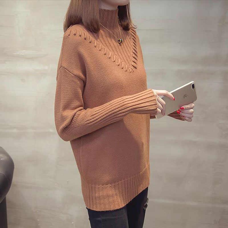 Pulôver feminino 2020 outono e inverno de manga longa camisola feminina estilo coreano adolescente malha topos rosa cinza marrom a01