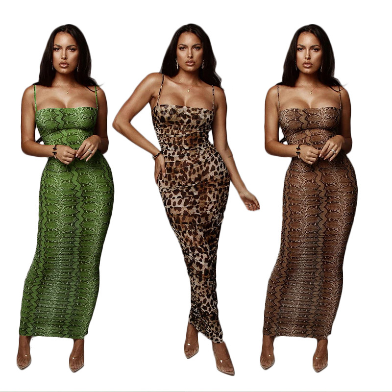 Sexy Leopard Print Snake Skin Dress Women Backless Elegant Bodycon Slim Pencil Dress Plus Size Maxi Dress Evening Party Dresses