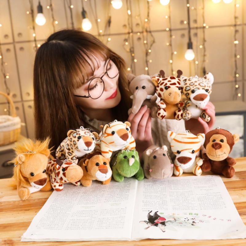 12cm Soft Lion Elephant Tiger Forest Animal Plush Toys Stuffed Animals Small Pendant Key Chains Christmas Birthday Gifts