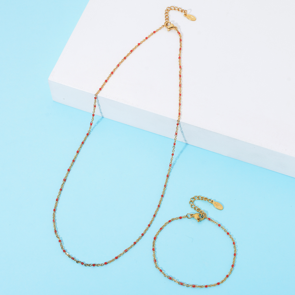 ZMZY Fashion Enamel Chains Necklace Bracelet Jewelry Sets Stainless Steel Chain DIY Multicolor Women Wholesale Wedding Gifts
