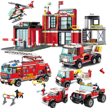 City Series The Fire Station Model Legoes Building Blocks Brick DIY Educational Kids Toy For Children Birthday Gifts 91pcs set fire helicopter diy model building blocks children educational toy assembled toy birthday gift for kids parent child