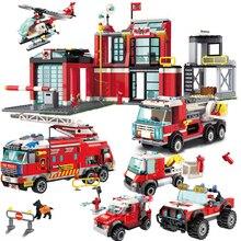 City Series The Fire Station Model Legoes Building Blocks Brick DIY Educational Kids Toy For Children Birthday Gifts недорого