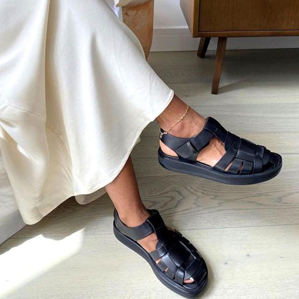 2021 בציר יוקרה מותג קומפי הליכה רומא דייג גלדיאטור מלא אמיתי עור ארוג עור סנדלי קיץ אישה נעליים
