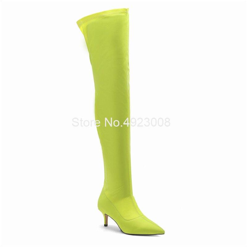 Эластичные зеленые сапоги из лайкры женские сапоги выше колена на среднем каблуке 5,5 см новые демисезонные сапоги до бедра без застежки Бол... - 3