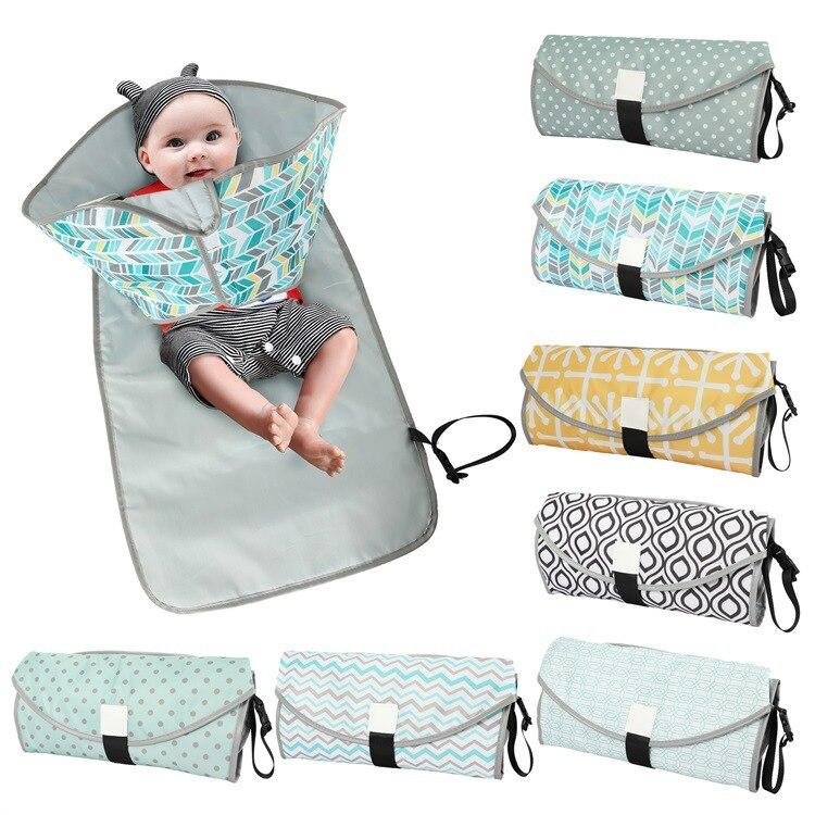 New 3 In 1 Waterproof Changing Pad Diaper Travel Multifunction Portable Baby Diaper Cover Mat Clean Hand Folding Diaper Bag 2