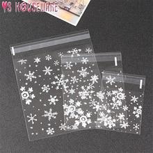 100 снежинки прозрачные пластиковые прозрачные целлофановые самоклеющиеся бисквитные конфеты закуски мешок DIY Подарочный мешок Рождество