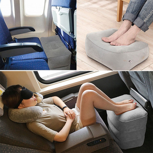 Image 2 - 3 Layers Inflatable Travel Foot Rest Pillow Airplane Train Car Foot Rest Cushion Like Storage Bag & Dust Cover Inflatable Pillow