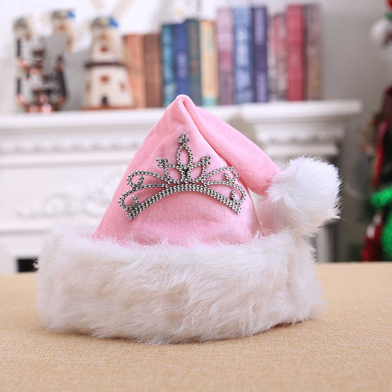 Dekorasi Natal Liburan Baru Berpakaian Dress Up Pink Crown Natal Topi Plush Natal Dekorasi Hot Sale