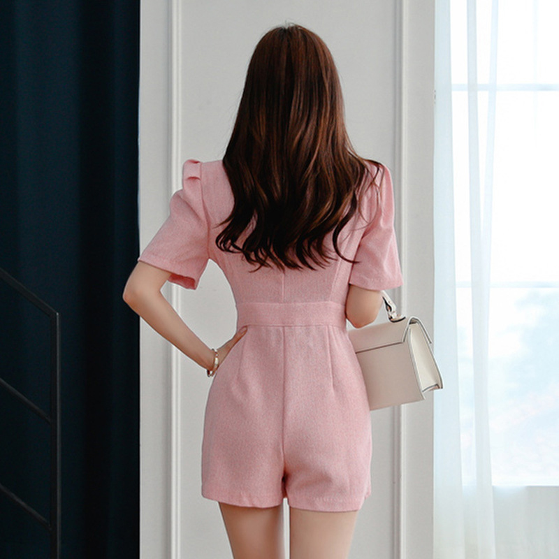 new arrival comfortable pink cute playsuits fashion comfortable high quality v neck sexy work style wild formal playsuits