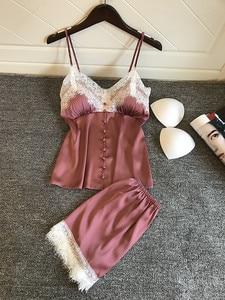 Image 5 - סקסי הלבשה תחתונה הלבשת סט נשים סקסי קלע מכנסיים קצרים תחתוני תחרה לקצץ סאטן חמוד ורוד Nightwear הלבשה תחתונה סטי Lenceria