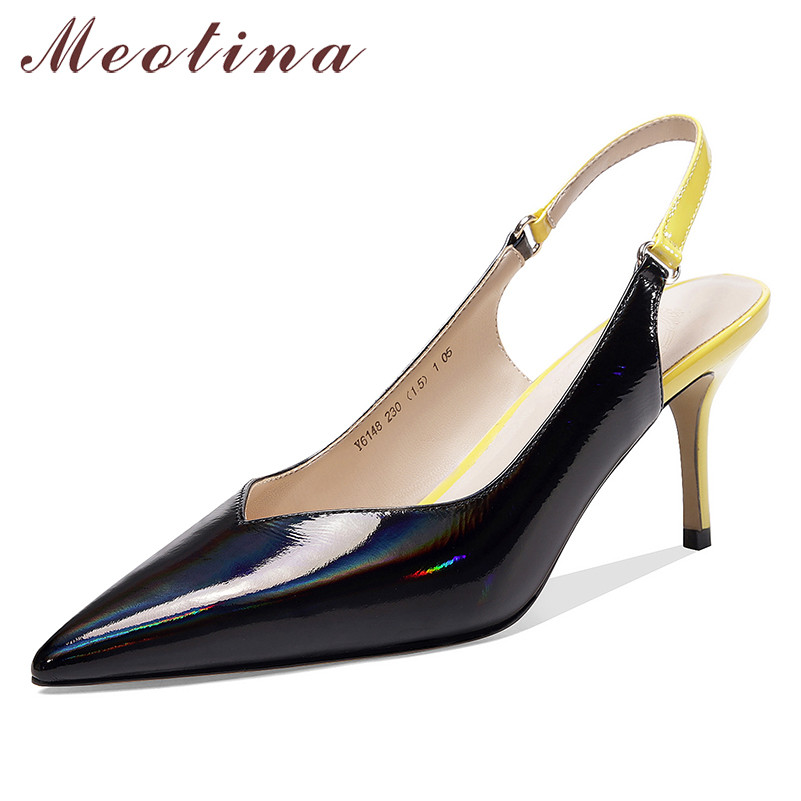 Meotina High Heels Women Pumps Natiral Genuine Leather Thin High Heel Slingbacks Shoes Real Leather Pointed Toe Shoes Lady 33-39