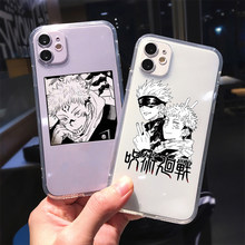 Jujutsu kaisen anime para iphone 11 12 x xr xs pro max se2020 6s 7 8 plus para iphone 12 mini silicone claro caso escudo do telefone