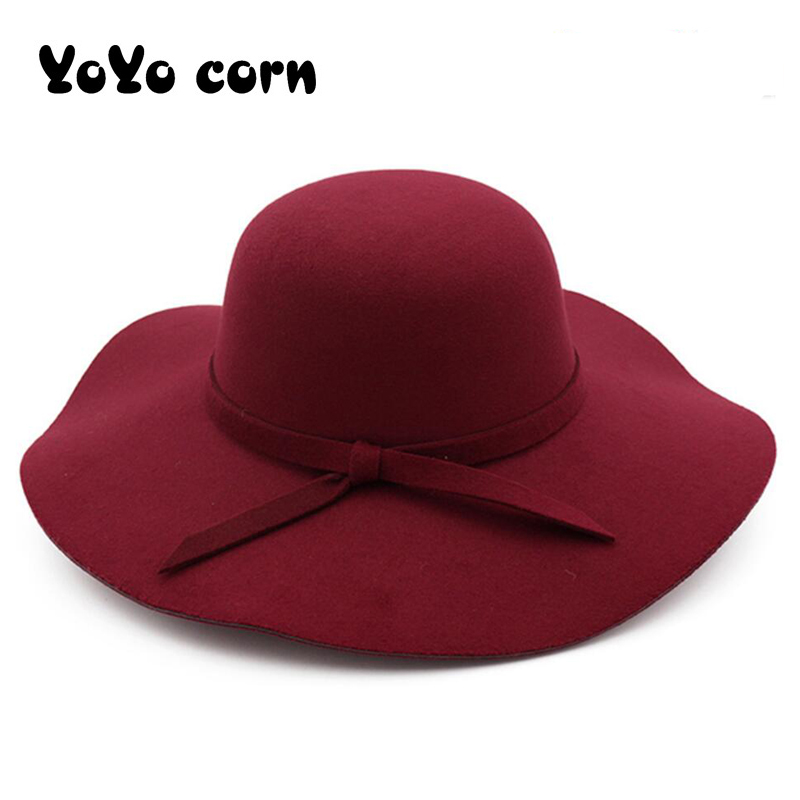 Church Cap Winter Hats For Women Bucket Caps Soft Vintage Wide Brim Wool Felt Bowler Fedora Hat Floppy Cloche Women's Large Hat