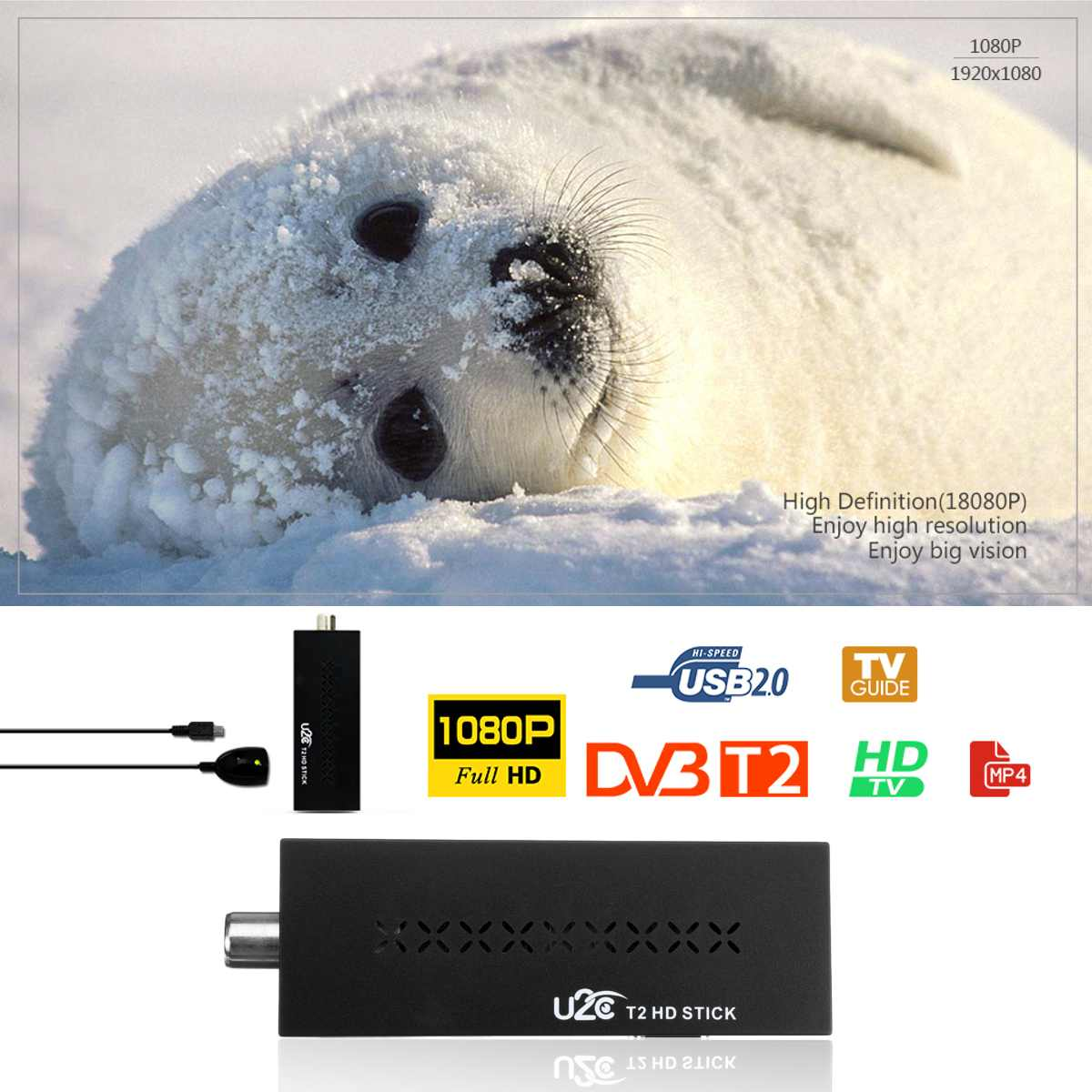 USB2.0 DVB T2 Wifi TV Tuner DVB-T2 Receiver Full-HD 1080P Digital Smart TV Box Support MPEG H.264 I PTV Built-in Russian Manual