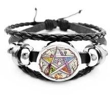 initial / Esoteric Pentagram Black Leather Bracelet Vintage Wicca Star Tree of Life Crystal Glass Snap