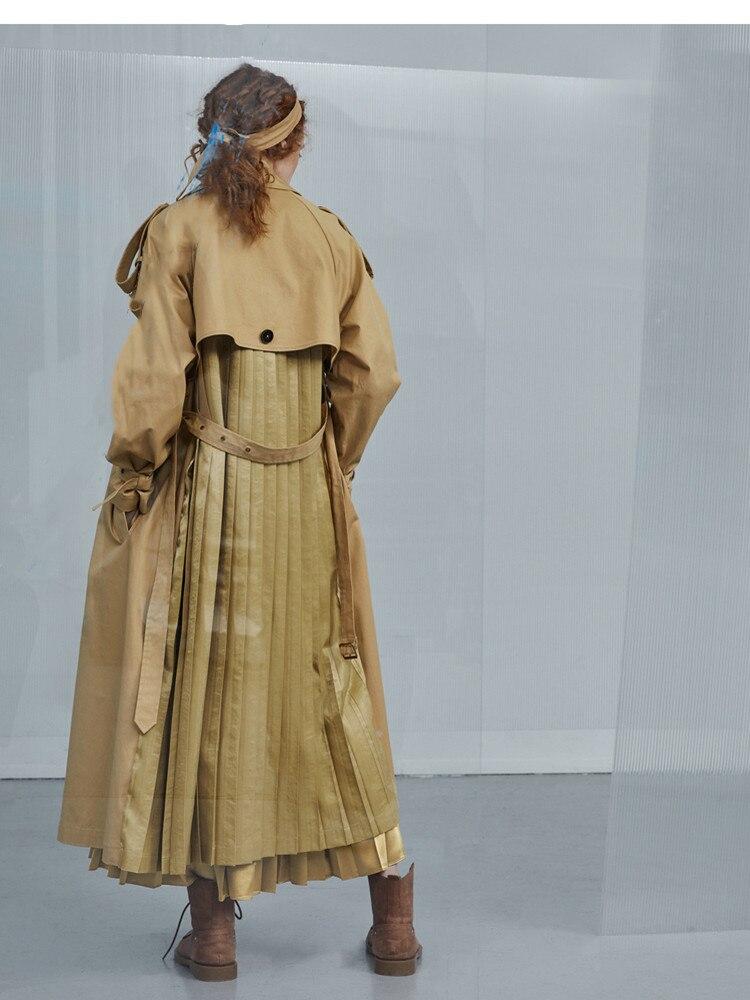 Original Design AIGYPTOS 2020 Spring Women Vintage Elegant  Windbreaker Retro British Style Khaki Cotton Long Trench Clothes