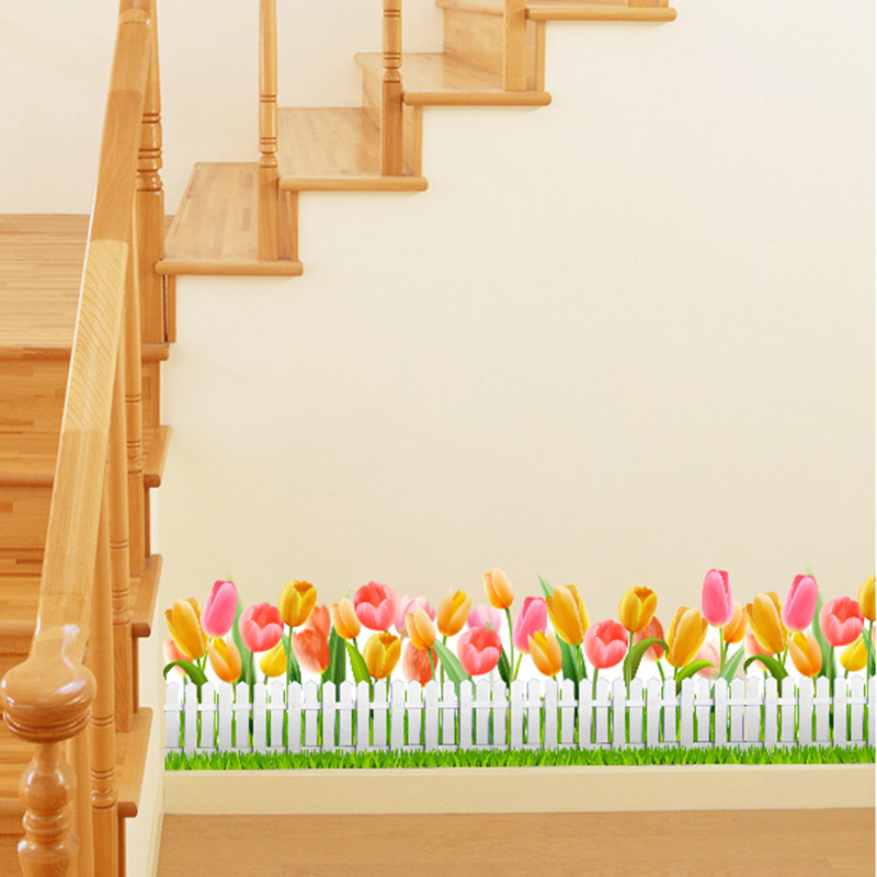 Dreamarts Flower Wall Sticker Tulip Horticulture Fence Flores Wall Decals for Stairs Living Room Kindergarten Home Decor in Wall Stickers from Home Garden