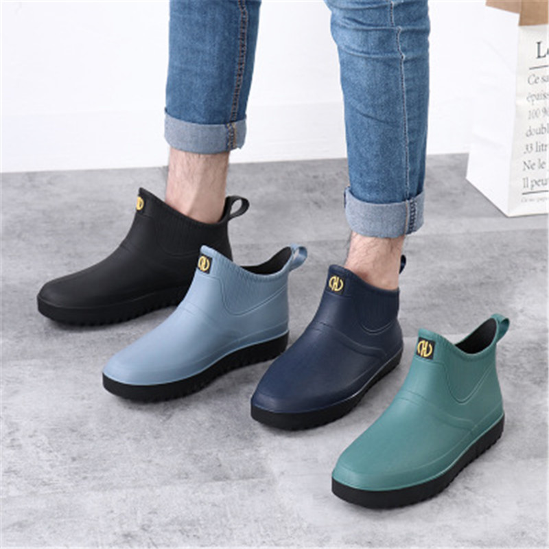 Men's Short Boots Rain Boots Kitchen Non-slip Rubber Shoes Soft Bottom Wear Labor Insurance Fashion Man Waterproof Shoes Green