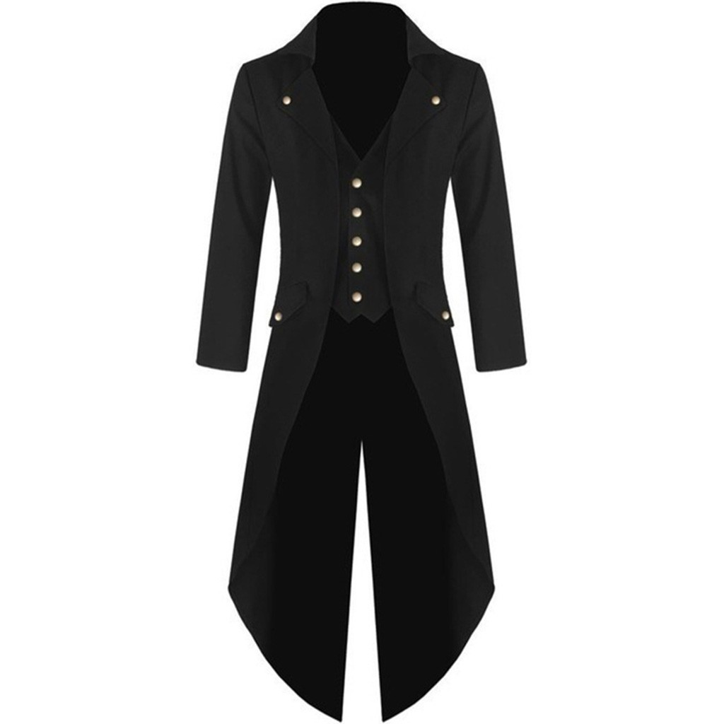 Long Jacket Costume Button-Coat Cool-Uniform Steampunk Retro Male Gothic Men Vintage title=