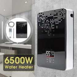 Электрический водонагреватель, 6500 Вт, 220 В, безрезервуарный, мгновенный бойлер для ванной, душевой набор, термостат, безопасный, умный, автом...
