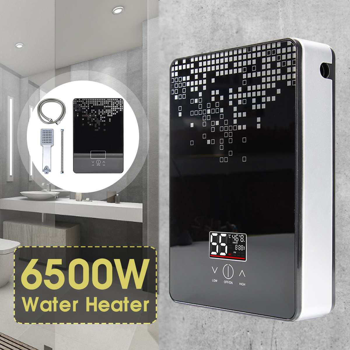 Electric Hot Water Heater 6500W 220V Tankless Instant Boiler Bathroom Shower Set Thermostat Safe Intelligent Automatically fauce image