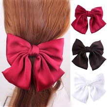 Oaoleer Hair Accessories Big Bow Ties French Clips for Girl Two Layers Satin Butterfly Knot Hairpins Women