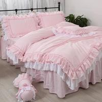 Solid color pink ruffles luxury bedding set cotton princess lace embroidered thicken bedspreads ropa de cama bed skirt YYX