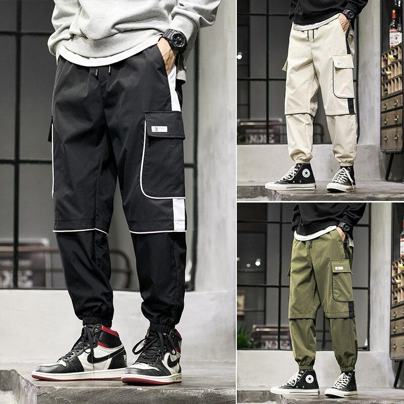 Cargo Pants Men Streetwear Hip Hop Men Loose Joggers Sweatpants Plus Size Track Pants Pocket Elastic Waist Full Length Trousers