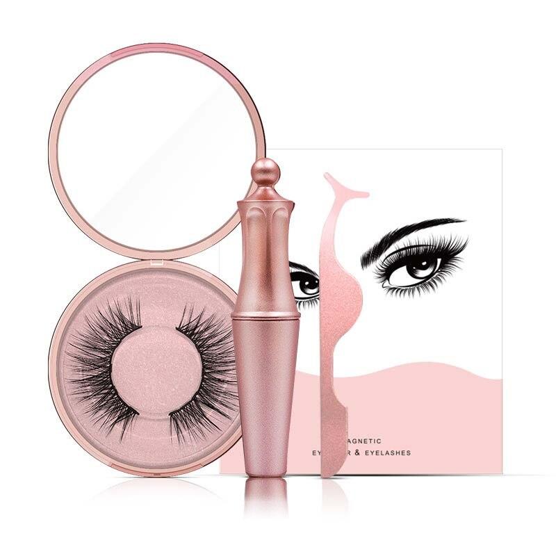 New Magnetic Liquid Eyeliner & 5 Magnet Magnetic False Eyelashes & Tweezer Set Waterproof Long Lasting Eyeliner False Eyelashes