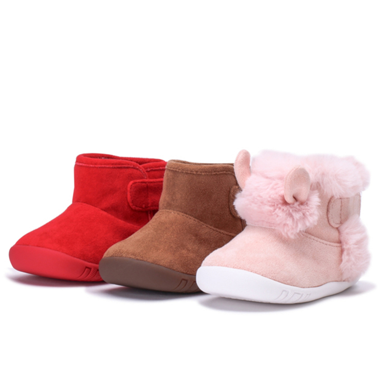 Balabala Baby Boy Girl Soft Fleece-Lined Ankle Boots First Walkers For Infant Newborn Babys Loop Fastener With Logo Embroidery
