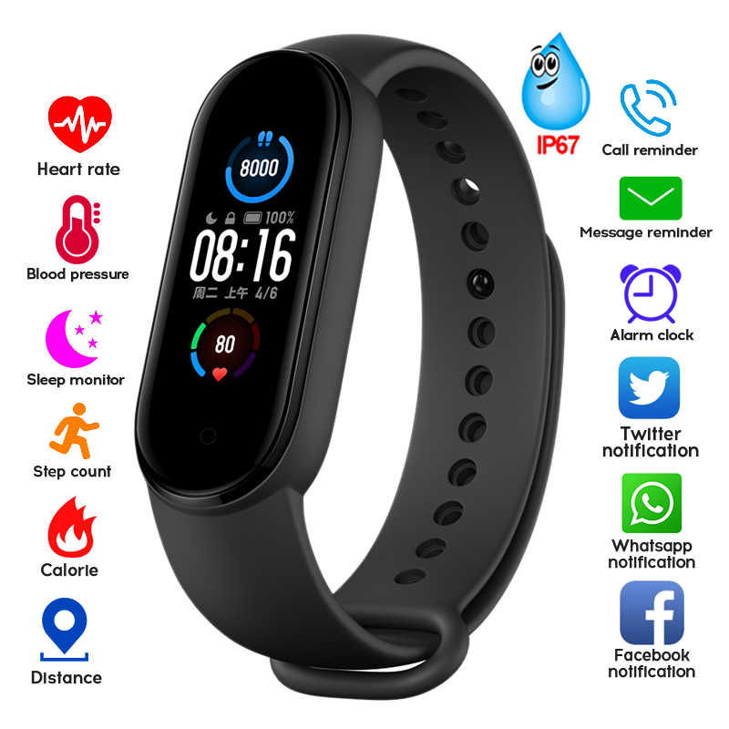 M4 M5 Banda Intelligente Inseguitore di Fitness Intelligente Orologio Smarthwatch Braccialetto Cuore Tasso di Pressione Sanguigna Smartband Monitor Salute Wristband