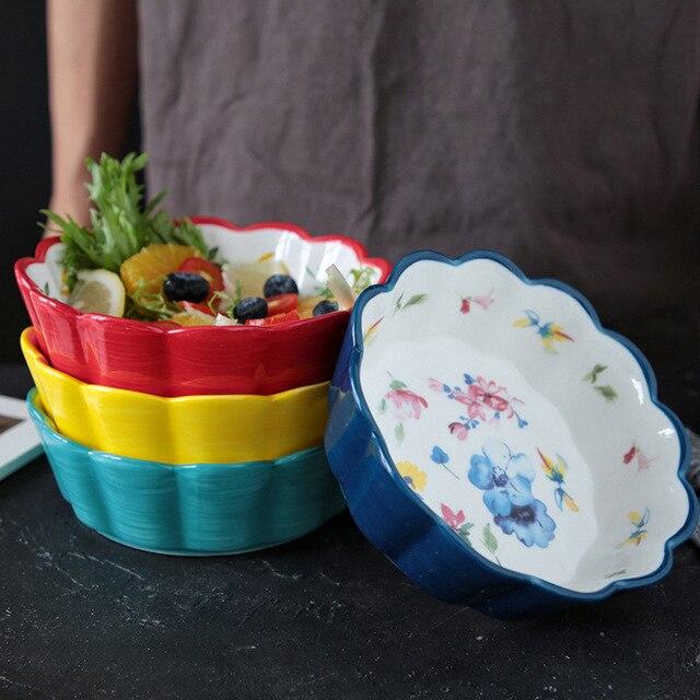 Фото японский стиль ручная роспись керамический милый фруктовый салатник