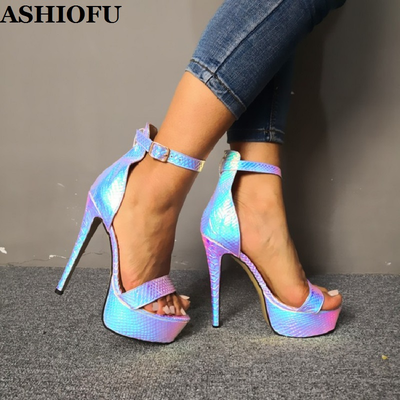 ASHIOFU Handmade Real Photos Women High Heel Sandals Bright-leather Party Shoes Sexy Platform Evening Fashion Sandals Shoes