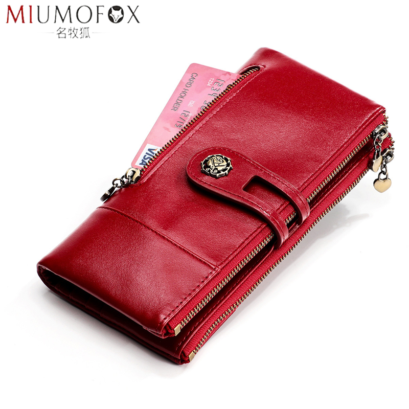 Women's Wallet Genuine Leather Female Clutch Long Wallet Womens Wallets And Purses Vintage Portomonee Money Bag Coin Purse Rfid