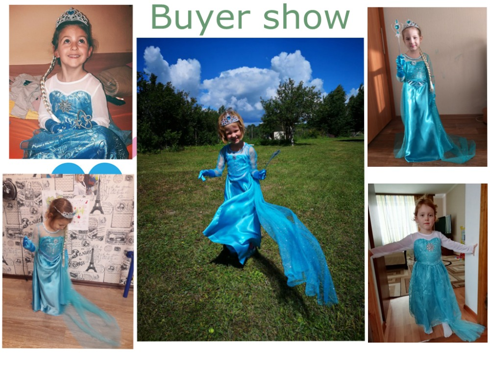 H85f33bf231d44b31b995cc92cbc9acc2B 2019 Elsa Dresses For Girls Princess Anna Elsa Costumes Party Cosplay Elza Vestidos Hair Accessory Set Children Girls Clothing