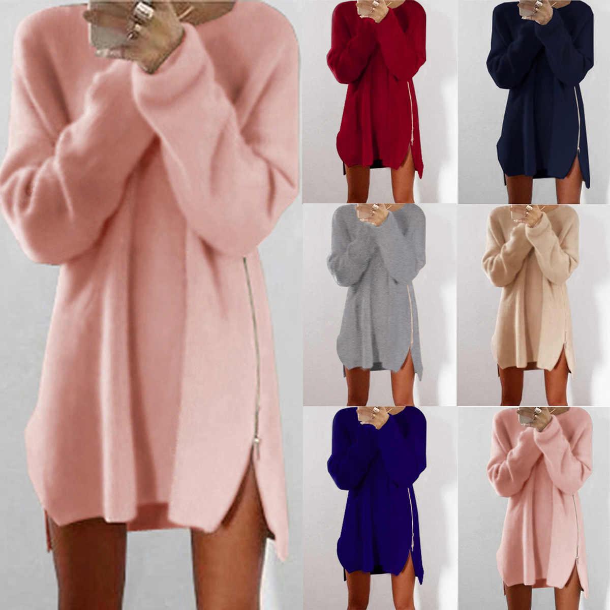 סתיו החורף סרוג כותנה סוודר שמלות נשים Loose עגול צוואר מוצק סוודר נשי סרוג שמלת Vestidos בתוספת גודל