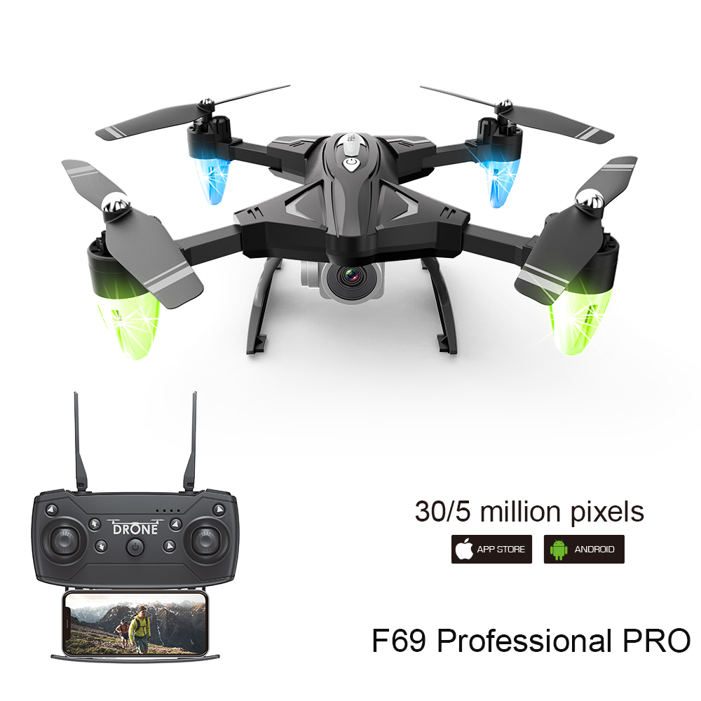 Folding Drone with 1080P HD Camera Aerial Photography Aircraft Four-axis Remote Control Professional Drone Gift F69 Quadcopter