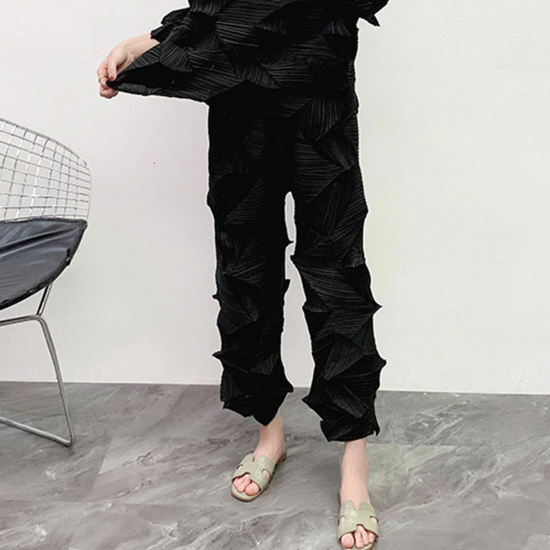 LANMREM 2020 Loose Large Size Pleated Pants Mid-waist Diamond Pleated Straight Tube Casual Pants Was Thin Female 19B-a259