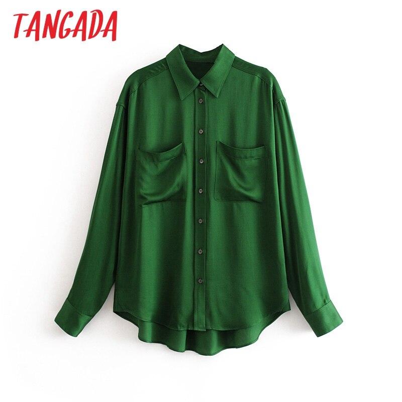 Tangada femmes vert lâche blouse à manches longues chic femme vintage surdimensionné longue chemise blusas femininas 3H49