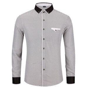 Image 3 - ファッション男性のプリント長袖カジュアルシャツ 2020 新男性社会スリムフィット襟ボタンステッチデザイン