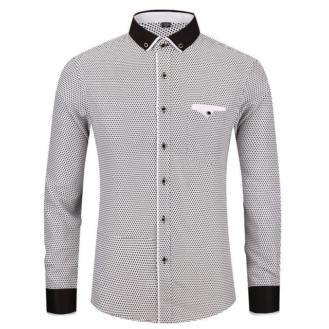 Men Dotted Print Long Sleeve Casual Shirt