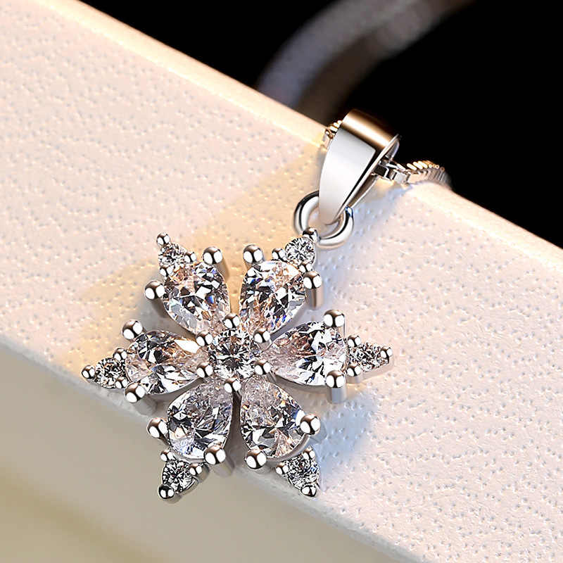 מעולה 925 סטרלינג כסף שרשרת לנשים זירקון Snowflake שרשראות תליוני תיבת שרשרת קולר Collares