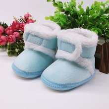 0-18M Winter Baby Boys Girls Shoes Newborn Infants Warm Faux Fur Booties Leather boots(China)