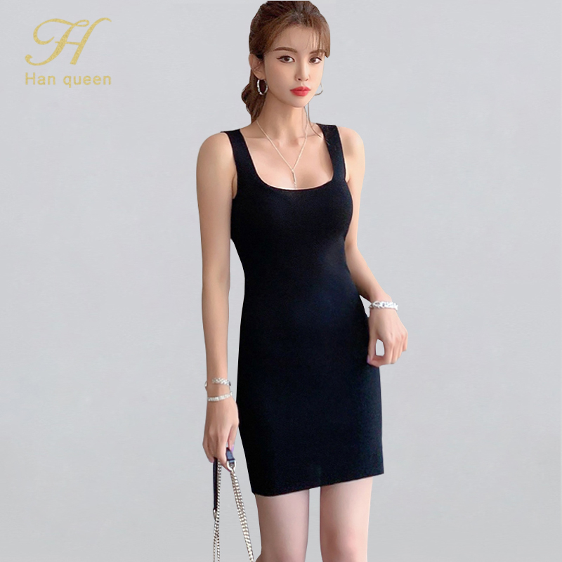 H Han Queen New Summer Bodycon Dress Women's Sexy Square Collar Knitted Vestido Sleeveless Tank Casual Work Party Pencil Dresses(China)